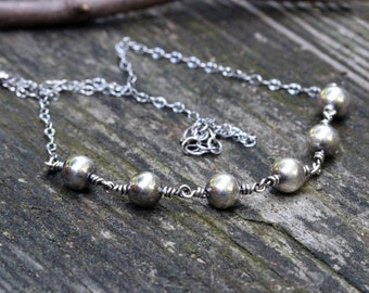 Sterling silver beaded necklace