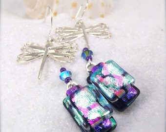Dichroic fused glass earrings, Dragonfly earrings, Hana sakura, dichroic earrings, fused glass jewelry, glass fusion, artisan jewelry, green