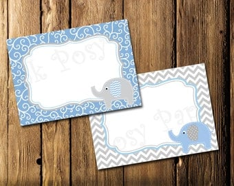 Printable Blue Elephant Baby Shower Food Labels - Instant Download