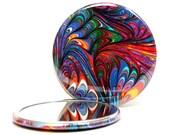 Marbled Pocket Mirror 10, Deep Rainbow Mirror, Marbled Paper Mirror, Small Glass Mirror, Bridesmaid Gift, Wedding Favor