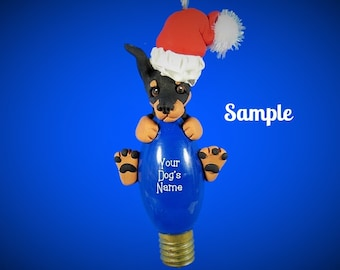 Doberman Pinscher Santa Dog cropped ears black tan Christmas Light Bulb Ornament Sally's Bits of Clay OOAK PERSONALIZED FREE with dog's name