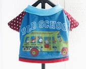 old school COURTNEYCOURTNEY french bulldog school bus print upcycled cotton knit outfit top fisher price vintage dog clothes