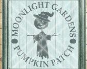 Scarecrow SVG Cut File - Halloween Fall SVG - Moonlight Garden Pumpkin Patch  - Digital svg, dfx, png and jpg files