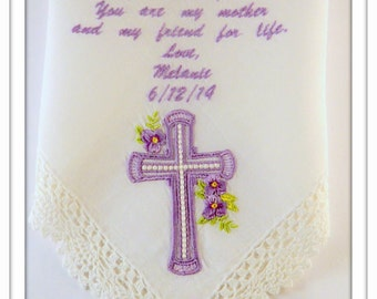 Personalized Embroidered Handkerchief Mother of the Bride with Cross