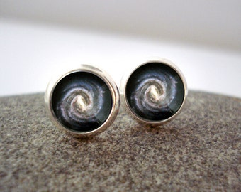Milky Way Galaxy Earrings - Tiny Silver Petite Solar System Planet Studs- Science Jewellery, Astronomy, Universe, Outer Space, Cosmos