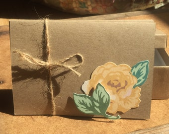 FREE Shipping Handmade Note Cards with Embellished Flowers