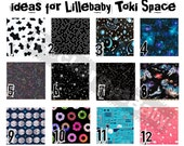 ONE Set of 2 Custom Suck Pads inspired by your new Tokidoki Space Lillebaby carrier Astronaut star moon cow Donut prints minky
