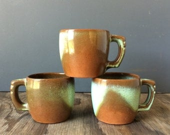 Prairie Green Frankoma Mugs  5C - 1950s Mugs - Set of 3
