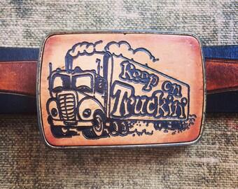 Keep on Trucking Belt Buckle - Vintage Leather Belt Buckle