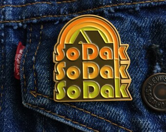 South Dakota Enamel Pin - SoDak Retro Camping Enamel Pin - Vintage South Dakota Lapel Pin