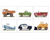 Boys transportation art prints, 8 x 10 art prints, Vintage Retro Style Room Wall Decor, Boys Art
