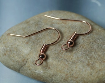 Rose gold tone fish hook ear wire with ball and coil, 18x18mm, 24 pcs (item ID XMHB00070RG)