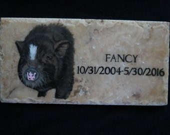 Pet Memorial Stone Original Hand Painted 12 x 6 inches Made to Order Potbellied Pig by Shannon Ivins