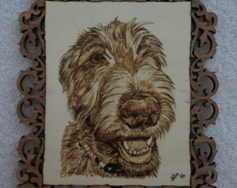 Irish Wolfhound Pet Portrait Pyrographic Art Wall Plaque Made to Order by Shannon Ivins Pigatopia