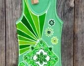 Mandala Yoga Tops/ Fitness Top/ Batik Top/ hand painted hand dyed green Tops & Tees Women's Clothing /Yoga Clothes