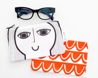 NEW Illustrated Girls Face Purse, make up bag, glasses case by Jane Foster  - lined
