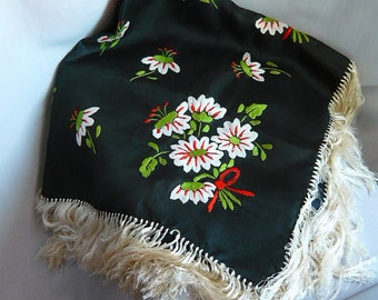 Vintage 70s Embroidered Table Cloth Square  SHAWL Floral Hand Knotted FRINGE White Black Orange Cottage Cabin Decor MCM
