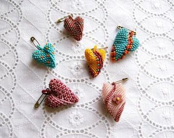 6 Beaded Heart Scatter Pins Handmade Jewelry Brooch Pin Shabby Boho Wearable Art
