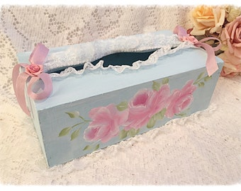 Pale Blue TISSUE Box Cover HOLDER Hand Painted Pink Roses ECS SVFTeam SCHteam