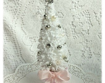 White/Pink Bottle Brush TREE Vintage Mercury Glass Shabby Cottage Chic ECS sct schteam svfteam