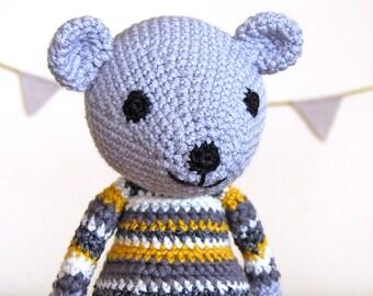 Grey Yellow Teddy Bear, Knit Teddy Bear, Handmade Teddy Bear, Baby Gift, Baby Shower Gift, Newborn Gift, Knitted Bear, Unisex Baby Gift