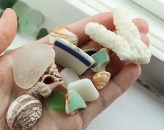 Bulk sea glass - Genuine pottery and  beach glass - Sea glass crafts - Sea shells -  Alaskan sea glass beach glass