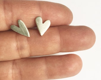 Funky Sterling Silver Heart Pierced Earrings Hand Cut Recycled Silver Upcycled Post Stud