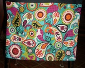 24 CHAIR POCKETS Durable Cotton  Paisley print with multi colored  backers your choice