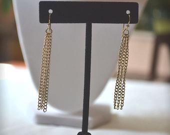 Goldtone Earrings, Dangle Earrings, Vintage Earrings, 1970's Earrings, Boho Earrings, Chain Earrings, Vintage Dangle Earrings