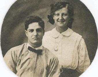 vintage photo Cute young Couple Circle photo RPPC