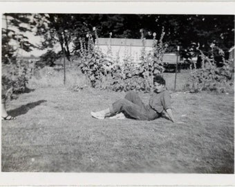 Vintage photo 1950s Teenage Girl Blue Jeans Flower Garden She loved pose on farm 2 photo lot