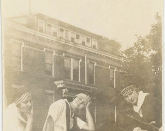 vintage photo 1918 Cute young Ladies College Behind them Grass Level look up
