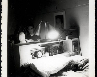 Vintage photo 1960s Young Man Mystery Radio Bed Nite Lite snapshot Square