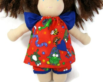 10 to 12 inch Waldorf Doll Clothes, Bright Red Top and Bottom, Red and Blue Toy set, ready to ship doll clothing
