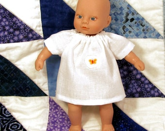 8 inch Waldorf doll white cotton nightgown, white nightgown with butterfly patch
