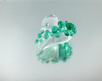 teal green heart, lampwork heart, effervescent heart, teal glass, lampwork focal heart bead, champagne heart, artisan glass, green glass