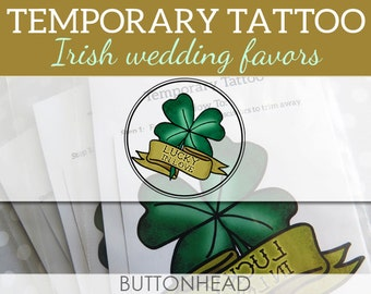 Irish Wedding Favors - Lucky In Love Four Leaf Clover Temporary Tattoos - Set of 12
