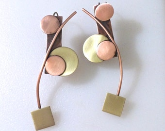 Long Abstract Copper and Brass Earrings