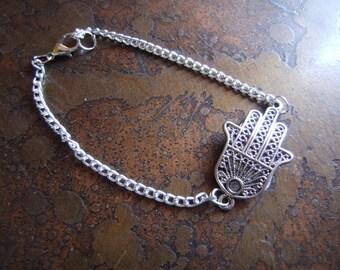 Hamsa Silver Tone Chain bracelet