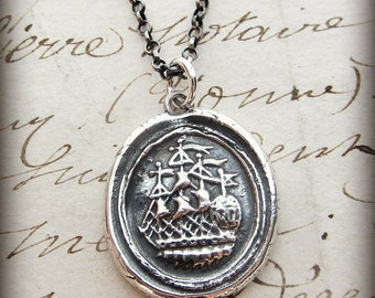 Ship Wax Seal Necklace - Symbolic of Joy, Happiness & Adventure - Nautical Jewelry - Maritime Necklace Handcrafted E2385