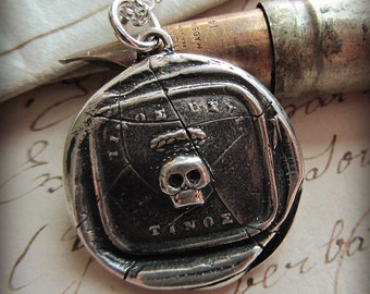 Skull Memento Mori Necklace Wax Seal Pendant - Remember your Mortality - Salvaged Wax Seal from the early 1800's - L1120