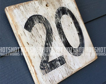 20, Twenty, Milestone age, Anniversary, Special number, Scoreboard style, Vintage-looking upcycled wood sign, hand made, hand painted