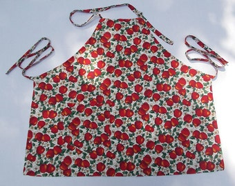 Apron full bib Apples print on white cotton fabric long ties adjustable neck loop one large pocket preshrunk