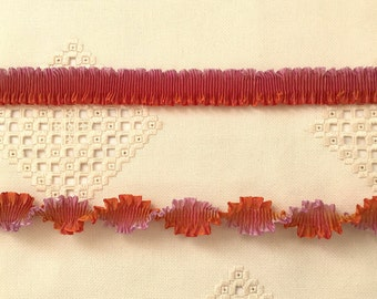 """Pleated French Ribbon Acetate Lavender Persimmon Ombré 1 meter 7/8"""" wide #170"""