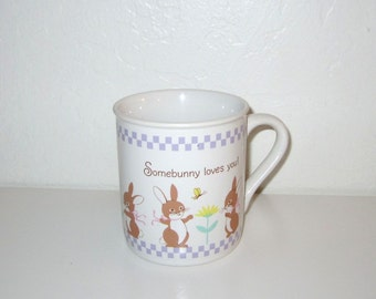 Hallmark Bunny Mug - Somebunny Loves You - Vintage 1980's Coffee Mug