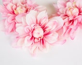 3 Large Pink and Ivory Toned Silk Dahlia - 5 inches - pink flower - artificial flower - read description - ITEM 0501