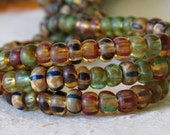 Peridot Picasso Mix 6/0 Czech Glass Aged Striped Picasso Seed Bead Mix : 1 x 20 inch Strand