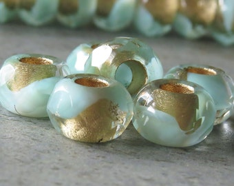 Mint Gold 12mm Czech Glass Roller Bead :  6 pc Green Gold Large Hole Bead