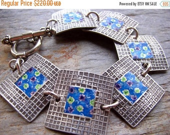 ON SALE Flower Photo Transfer Silver Bracelet, PMC Fine Silver
