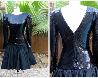 80s Black Party Prom Dress Sequin Top Fit & Flare Taffeta Skirt Sz S Short Prom Dress